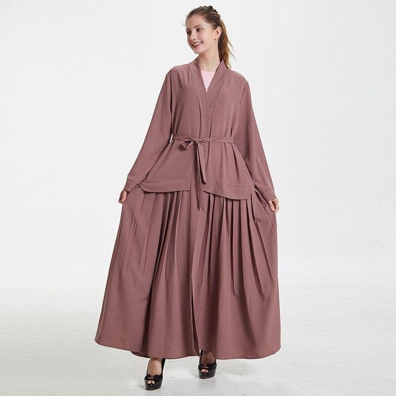 2019 Abaya Dubai Kaftan Long Linen Pleated Muslim Hijab Dress Women Kimono Cardigan Robe Elbise Mubarak Turkish Islamic Clothing