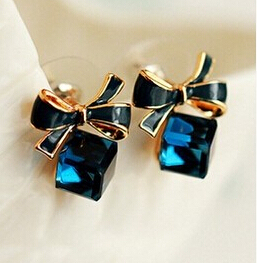 Chic Shimmer Plated Gold Bow Cubic Crystal Earrings