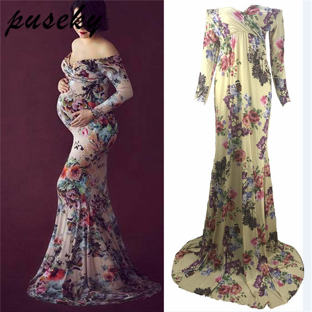 0cf6cb224de Puseky Long Milke Silk Maternity Dresses For Pregnant Woman Fancy Photography  Props Pregnancy Clothes Maxi Maternity Photo Shoot