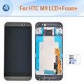 """Para htc one m9 lcd assembléia com frame screen display lcd de toque digitador de vidro + moldura de ouro prata cinza cor 5 """"pantalla + ferramentas"""