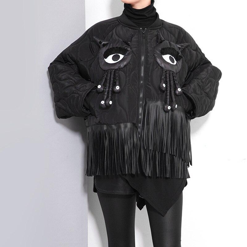 XITAO 2016 Winter women big eyes small monster tassel bat sleeve coat Korea street style