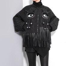 [XITAO] 2016 Зима женщины большие глаза, маленький монстр кисточкой летучая мышь рукав пальто Корея street style женский полный рукав короткий пальто LL063