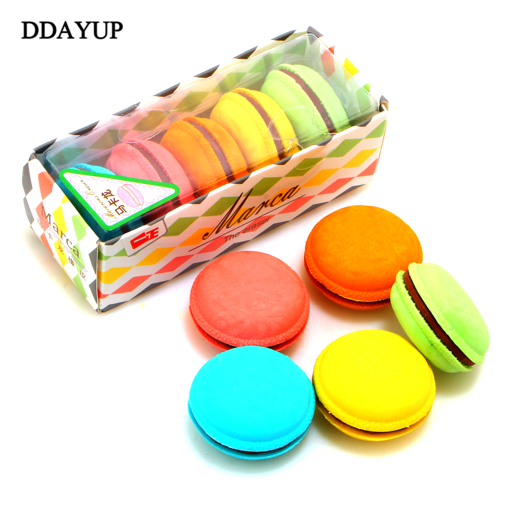 5 Pcs/box Macaron Color Erasers Cute Cake Rubber Eraser For Kids Funny Stationery Material Escolar School Supplies