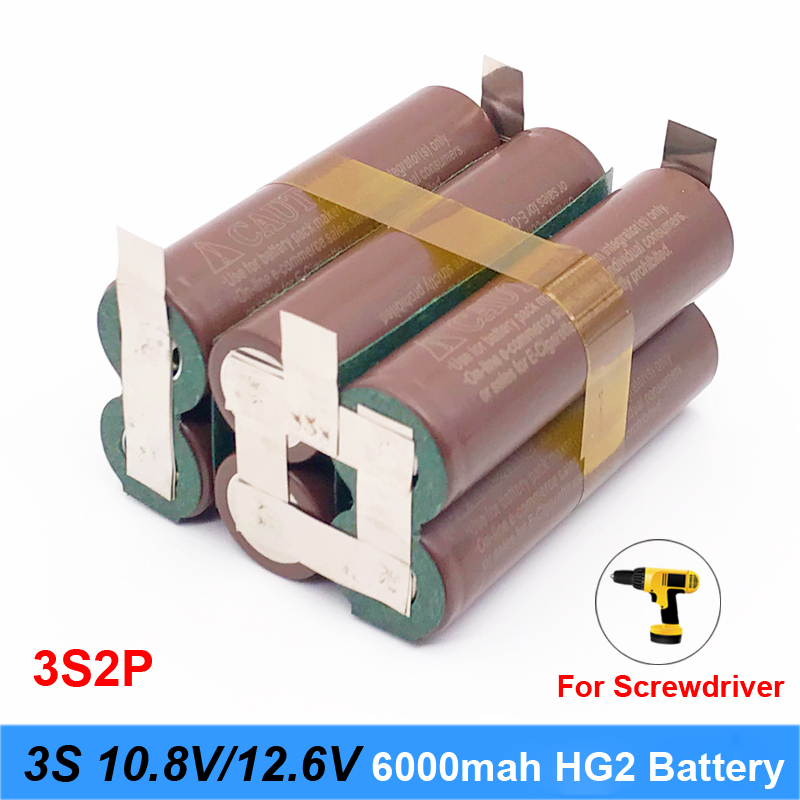battery 18650 hg2 3000mAh 20amps 12.6V to 25.2V screwdriver battery weld soldering strip 3S 4S 5S 6S battery pack (customize) OC