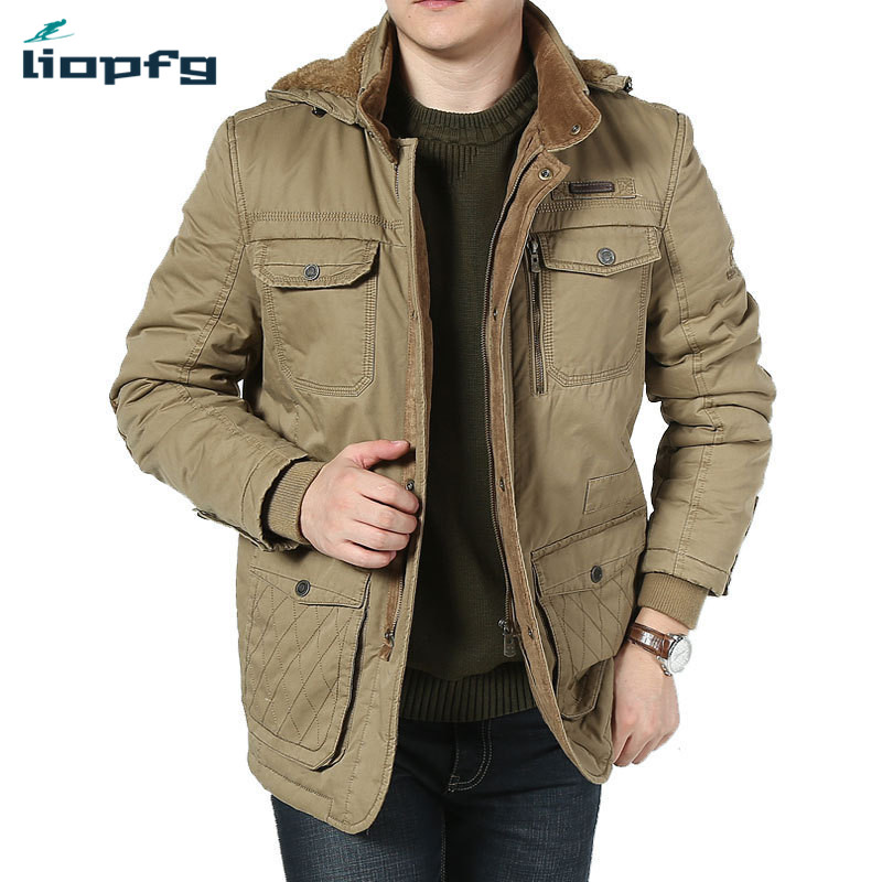 цены на Large size new hooded men' clothing 2017 men' high-quality thickening high-quality cotton jacket winter casual loose warm Coat в интернет-магазинах