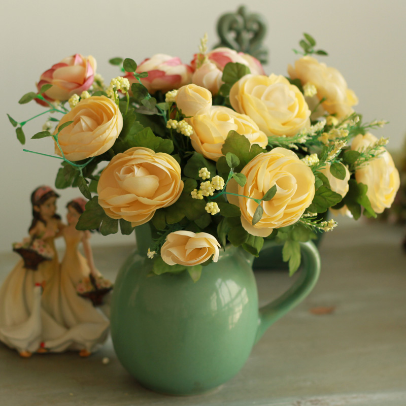 NEW! Vintage Bouquet Fake Camellia Home Display Artificial Beautiful ...