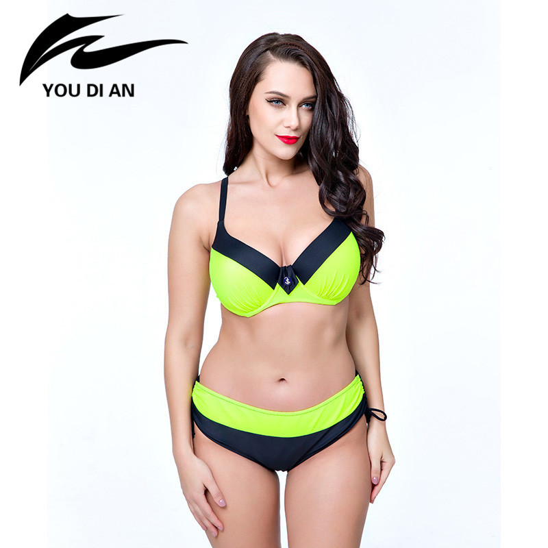 YOUDIAN Bikinis Sets Women 2017 Plus Size Push Up Swimsuits Underwire Assorted Colors Swimwear Bathing Suits Female Beach Wear plus size swimwear one piece swimsuits sexy women push up padded bikinis floral beach bathing suits push up swim wear monokini