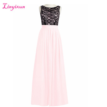Linyixun Real Photo New Cheap Scoop Neck Evening Dresses 2017 Long A line Prom Dresses With Lace robe de soire Custom Made
