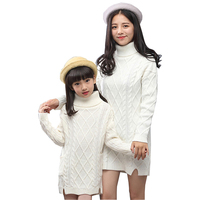 Family Matching Outfits Winter Knitting Swearter Mother Kids Turtleneck Tops Family Matching Clothes Mother And Daughter