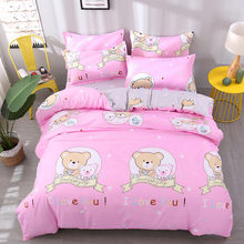 Pink Girl Adult 3/4 pcs Bedding Set Soft Cotton Bed Linen Single Twin Full Queen King Size Quilt Comforter Duvet Cover 24(China)
