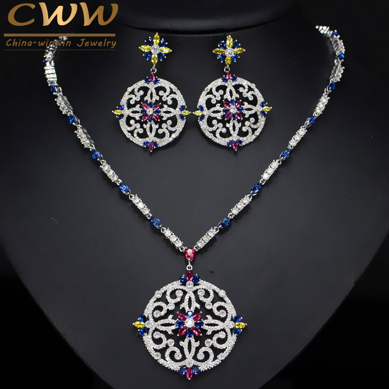 CWWZircons Vintage African Multi Color Cubic Zirconia Wedding Big Long Drop Necklace and Earrings Bridal Jewellery