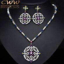 CWWZircons ensemble de bijoux de mariée Vintage, collier et boucles doreilles en zircone cubique, multicolores, pour mariage T105