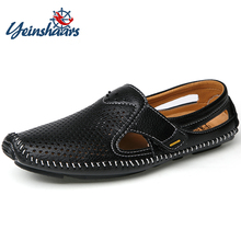 YEINSHAARS Men Summer Casual Sneakers Comfortable Drive Footwear Breathable Hole Man Flats Fashion Large Size Shoes