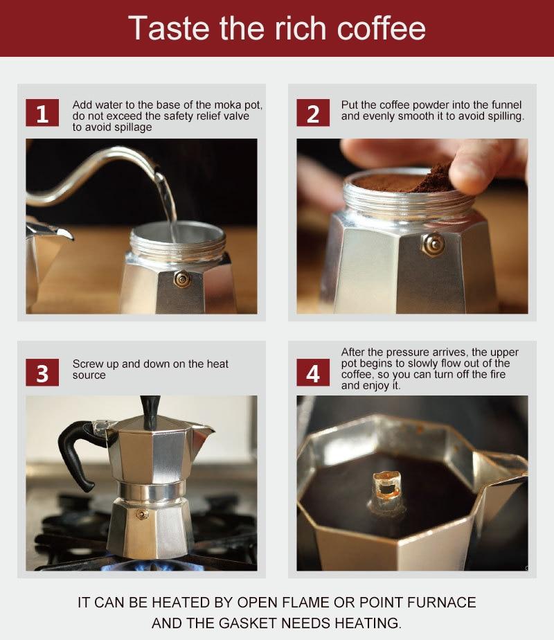 VOCORY Coffee Maker Aluminum Mocha Espresso Percolator Pot Coffee Maker Moka Pot 1cup/3cup/6cup/9cup/12cup Stovetop Coffee Maker 5