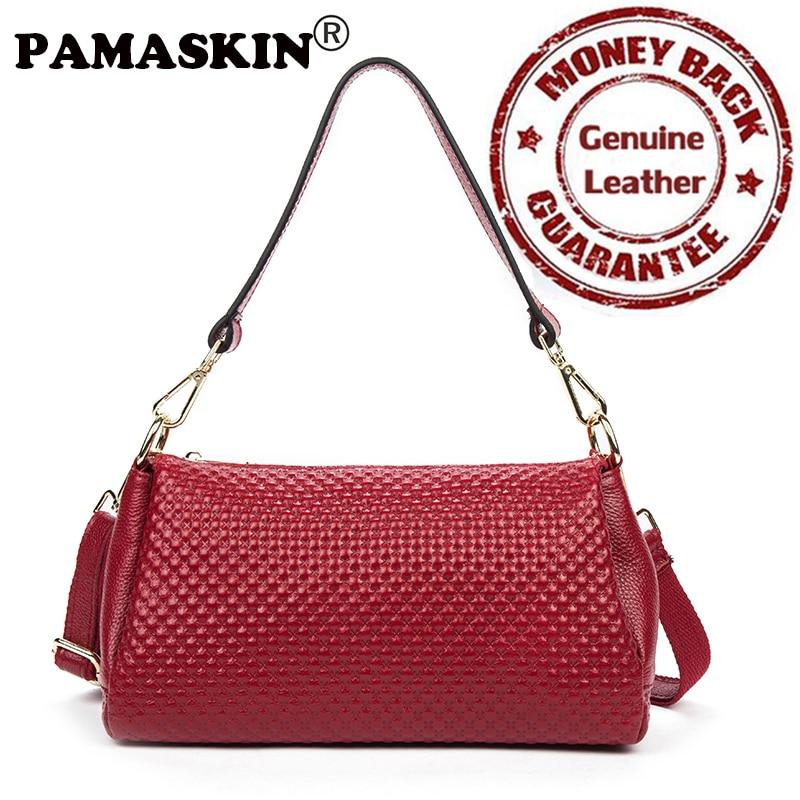 ФОТО 2017 Newest Brand Designer Multi-function Casual Feminine Handbag Premium Real Leather Embossing Practical Women Messenger Bags