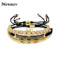 NEWBUY 3Pcs/Set Luxury AAA+ Cubic Zirconia Beads Bracelets & Bangles For Men Handmade Braided Rope Chain Crown Charm Bracelet