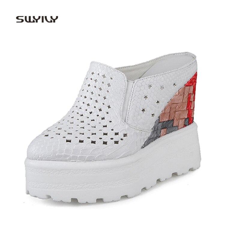 D'été Chaussures forme Femelle Femmes Demi Respirant Noir 2018 Dame Diapositives Cale Plate Sexy Hallow Occasionnel blanc De Swyivy Pantoufles wYq1IPP