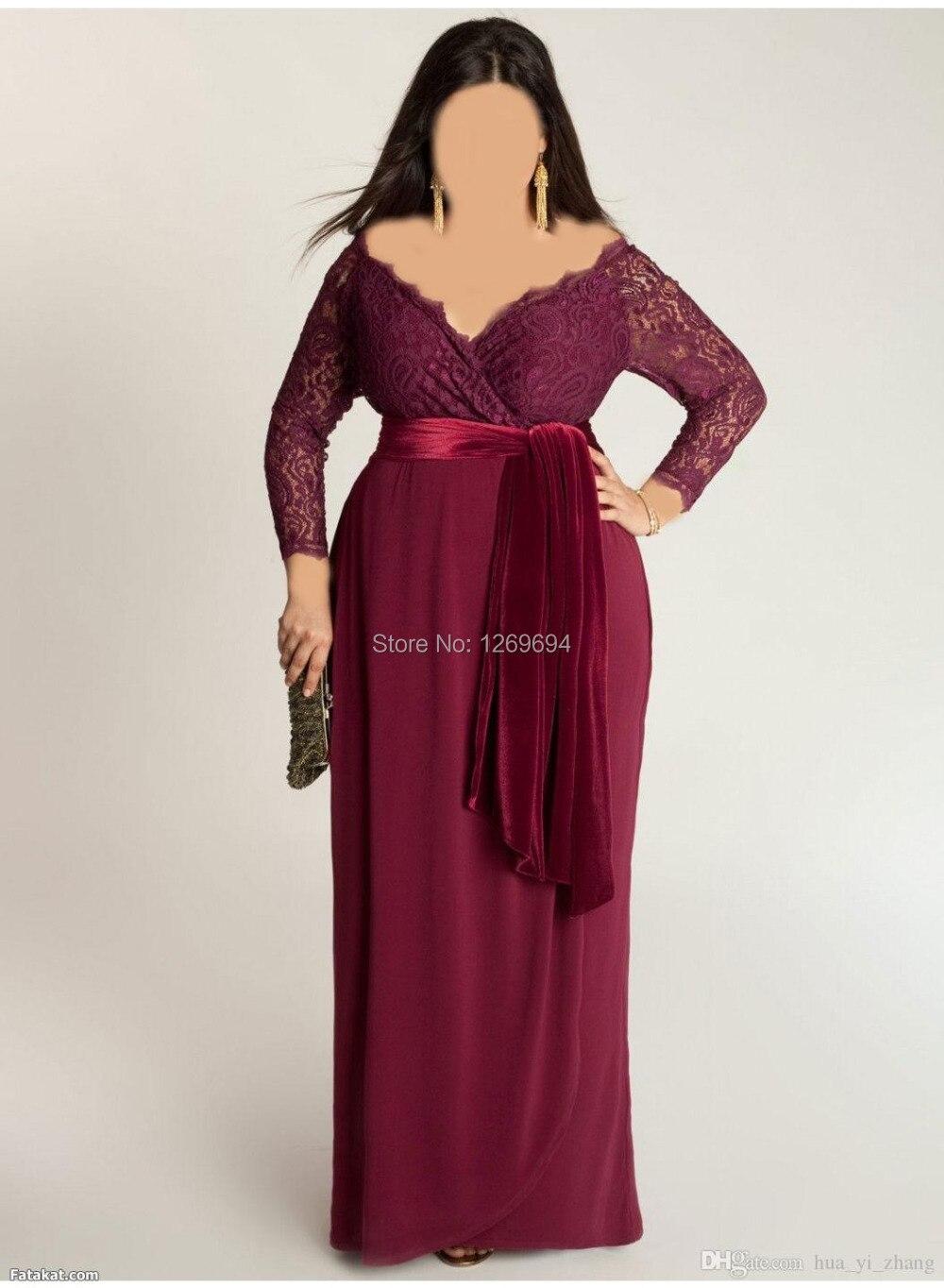 plus size elegant evening dresses a line red wine/burgundy deep v