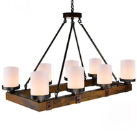Industrial wind antique Perdant Light American Wooden Round Rectangular Iron Candlestick Chandelier for Restaurant Bar