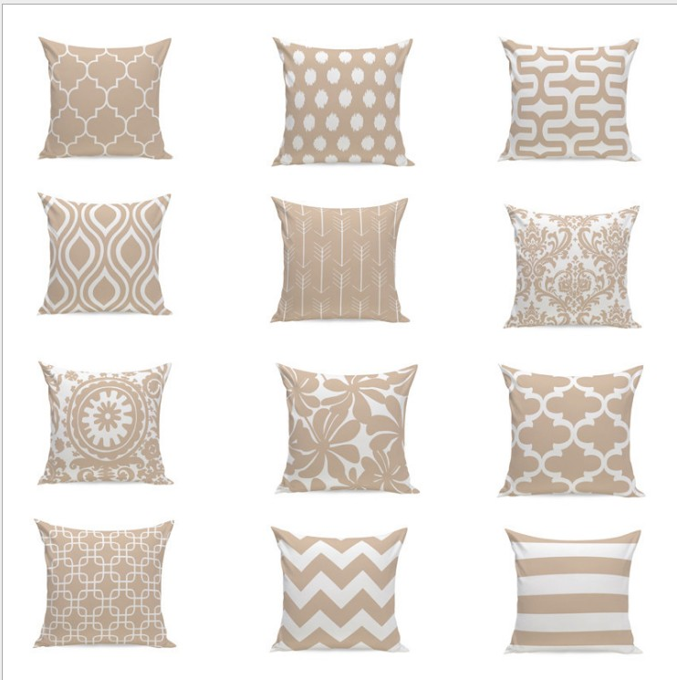 Khaki Color Flowers Chevron Cushion Cover Home Decor