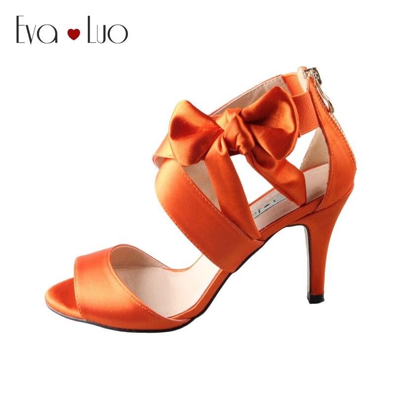 Scarpe Arancioni Sposa.Chs608 Dhl Express Arco Arancione Abito Di Raso Sandali Da Sposa