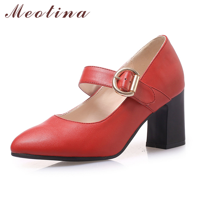 941f7f2deca85f Meotina High Heels Mary Janes Shoes Women Buckle Square High Heels Shoes  Fashion Office Ladies Pumps Spring Red Plus Size 33-45