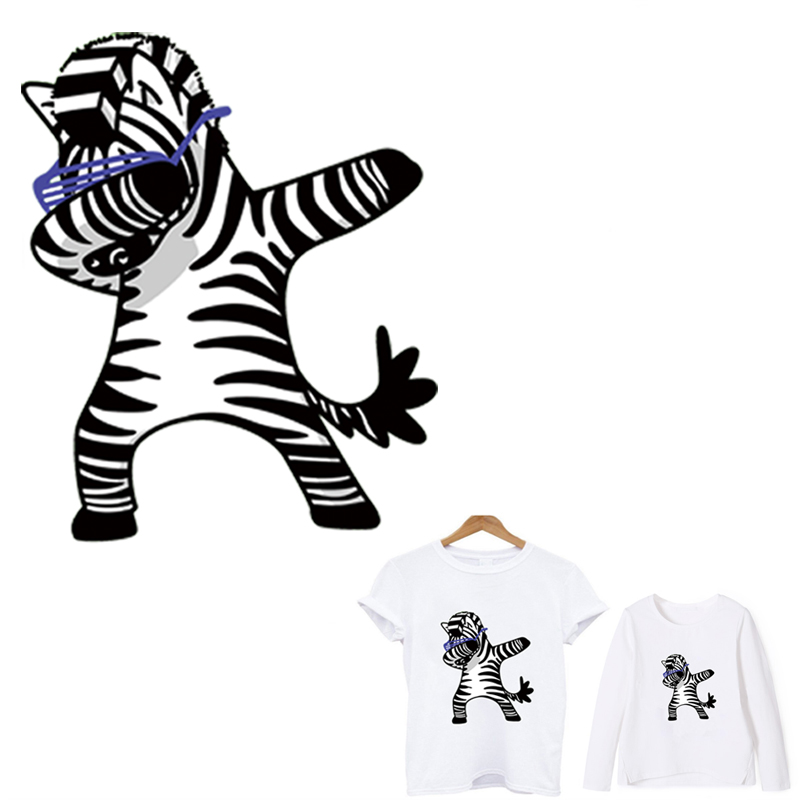 Hot applications for clothes Dabbing zebra patch iron on patches stripes application of one another stickers toppe