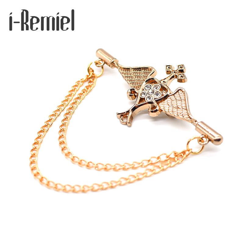 i-Remiel Men Broche Angel Male Brooch Cross Chain Suit Pin