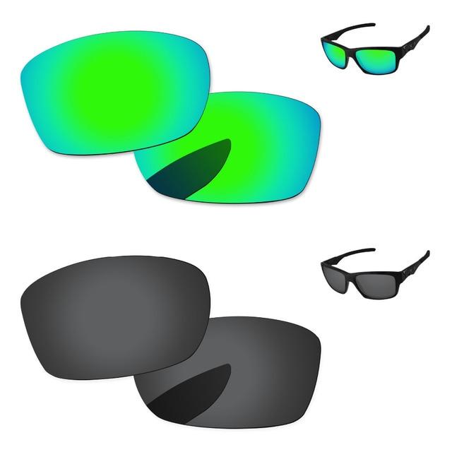 71a190440b Negro y verde esmeralda 2 pares polarizadas lentes para Júpiter cuadrado  gafas de sol marco 100
