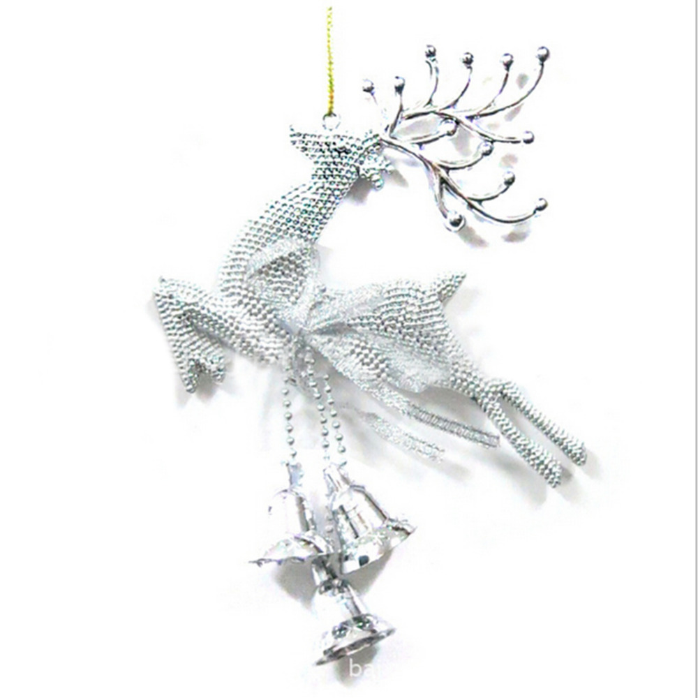 1 pieces silver reindeer reindeer with bells pendants for Christmas decoration websites