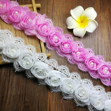 13Yards Pink White 3D Chiffon Lace Trim Fabric Pearls Ribbon Trimming DIY Craft For Wedding Deco Garment Accessories