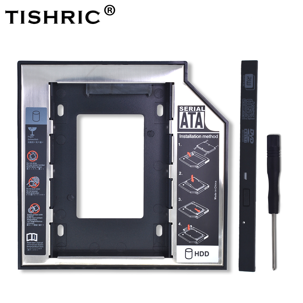 TISHRIC Plastic Aluminum Universal 9.5mm SATA 3.0 2nd HDD Caddy 2.5