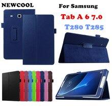 Litchi Soporte de Cuero de LA PU Caso de la Cubierta Del Tirón Para Samsung Galaxy Tab un 6 A6 7.0 2016 T280 SM-T280 T280N T285 T281 Tablet caso