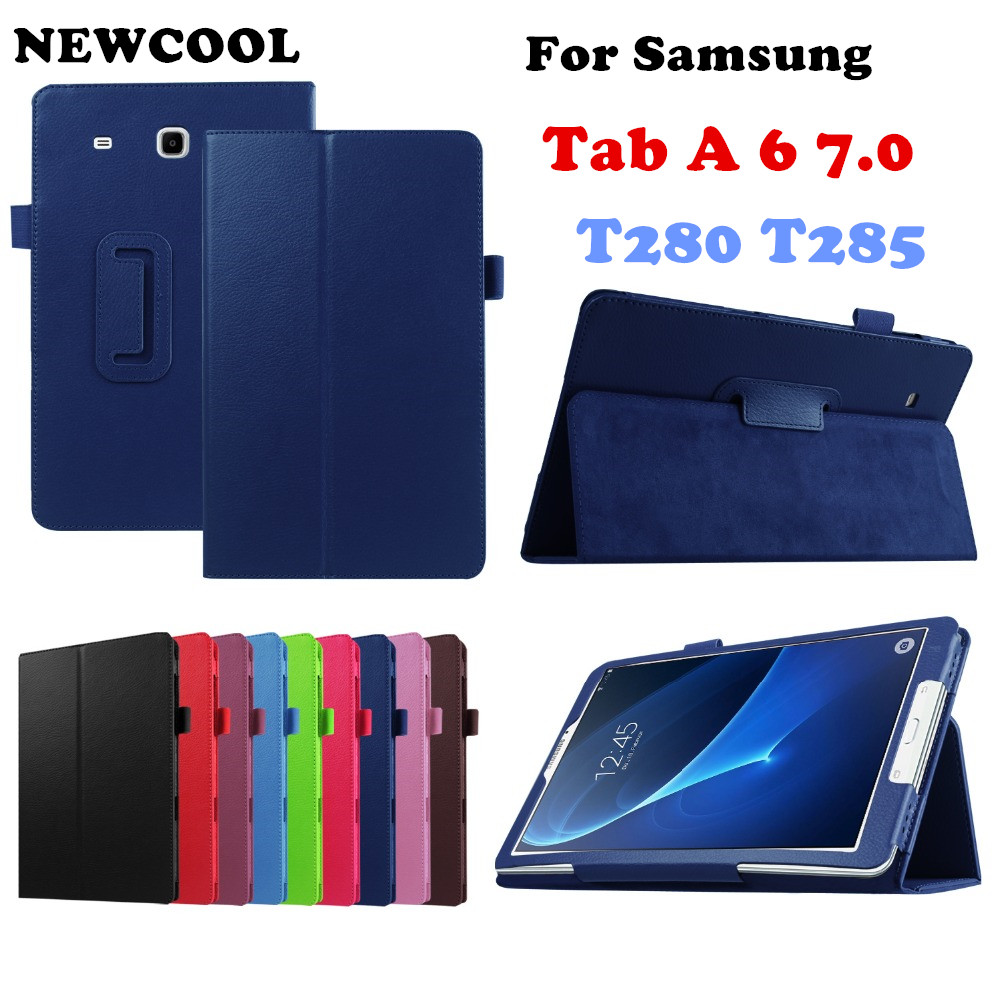 Litchi Stand PU Leather Case Flip Cover For Samsung Galaxy Tab A 7.0 2016 T280 SM-T280 T280N T285 T281 Tablet case pu leather case for samsung galaxy tab a a6 7 0 t280 t285 sm t280 sm t285 covers case tablet business flip stand shell funda