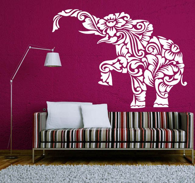 Buddha Hidu God Elephant Wall Decal Mandala Lotus Flower Ganesh Wall  Stickers Home Art Mural Om