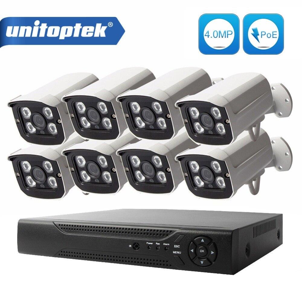 8CH Security 4MP IP Camera 48V POE NVR CCTV System 8Pcs Bullet IP Camera Outdoor Waterproof