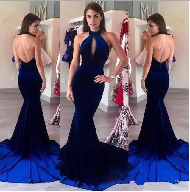 South African Velevt Burgundy Prom Dresses 2017 New Sexy Halter Keyhole Neck Backless Long Evening Gowns Red Carpet Gowns Custom