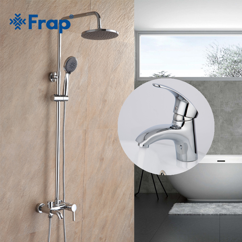 Frap Bathroom Rainfall Shower Chrome Faucet Deck Mounted Basin Taps Brass Bath Sink Faucets Hot And Cold Water Mixer F2416+F1021 sognare chrome bathroom basin sink faucet cold and hot water taps bathroom vanity sink mixer brass deck mounted basin faucets