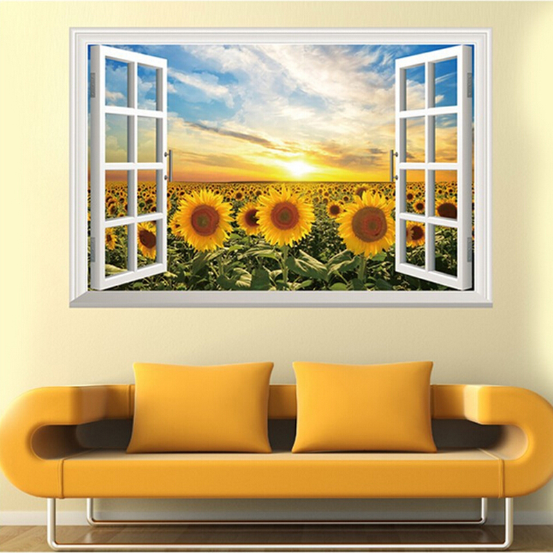 Fake window sunflower wall stickers home background ...
