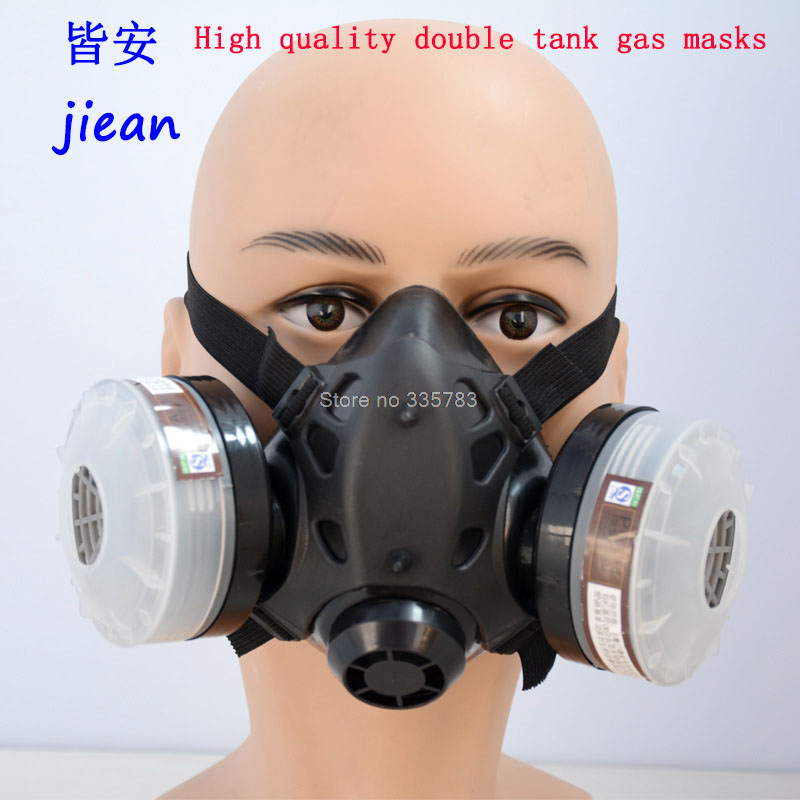 Tank respirator Double gas mask Silicone black ChenDu amphibious respirator face mask pesticide paint spray respiradores mask silicone respirator gas mask pesticide pintura full face carbon filter mask paint spray gas boxe protect mask free shipping