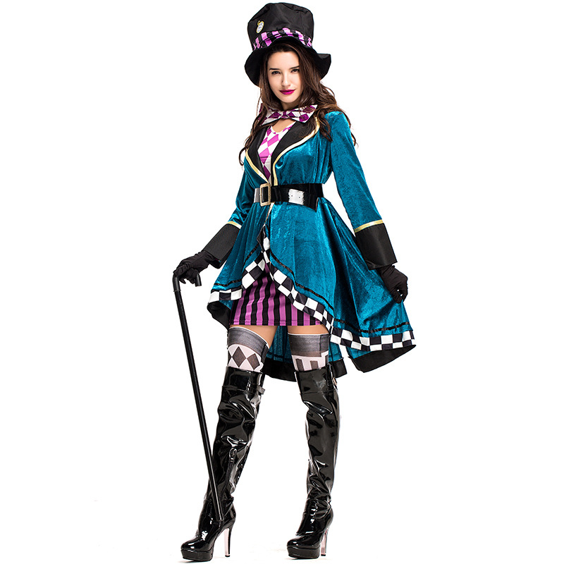 9dbf647f2dab27 Alice in Wonderland Sexy Mad Hatter Costumes Women Halloween Party Outfit  Fancy Dress Mad Hatter Costume