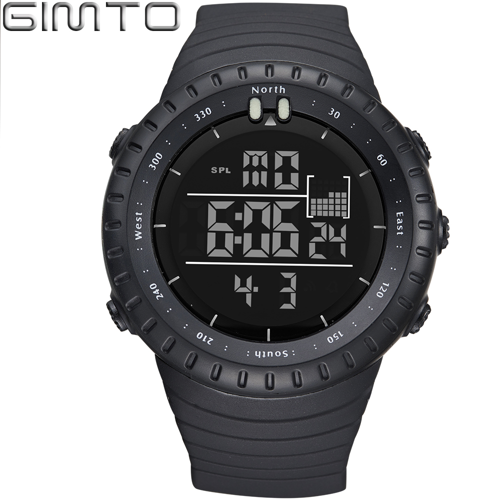 Gimto luxury brand mens sports watches dive 30m digital led military watch men fashion casual for Watches digital