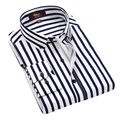 2016 de Alta Calidad de Los Hombres Camisas de Algodón de Manga Larga Para Hombre Vestido camisas A Rayas de Negocios Los Hombres Camisa Casual Slim Fit Plus Size Camisas