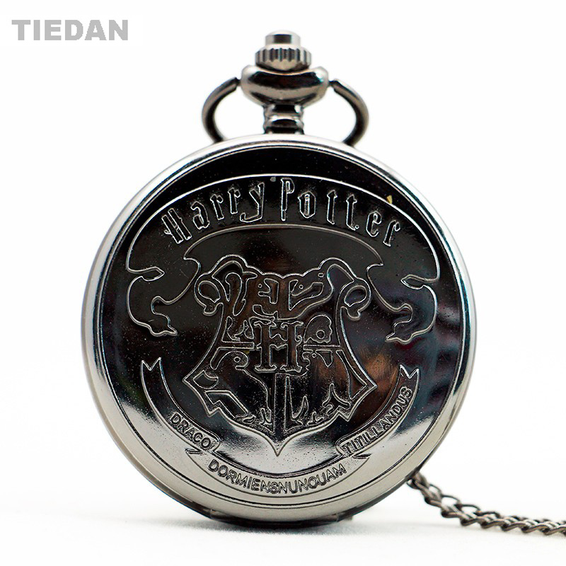 TIEDAN Black Harry Potter Design Antique Retro Quartz Pocket Watch with Long Chain Necklace Vintage Fob Watches to Unisex Gift vintage antique stainless steel quartz pocket watch key shaped pendant watch key chain unisex gift new popular style hot selling