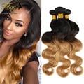 7A Virgem Dois Tons de Cabelo Brasileiro Weave Bundles Produtos Quentes 3 Bundlles cabelo Onda Do Corpo Brasileiro Ombre Extensões de Cabelo Humano