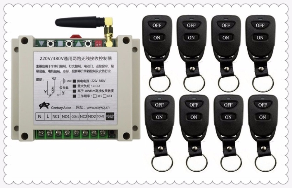 New AC220V 250V 380V 30A 2CH Remote Control Light Switch Relay Output Radio Receiver Module and 8pcs Belt buckle Transmitter цены