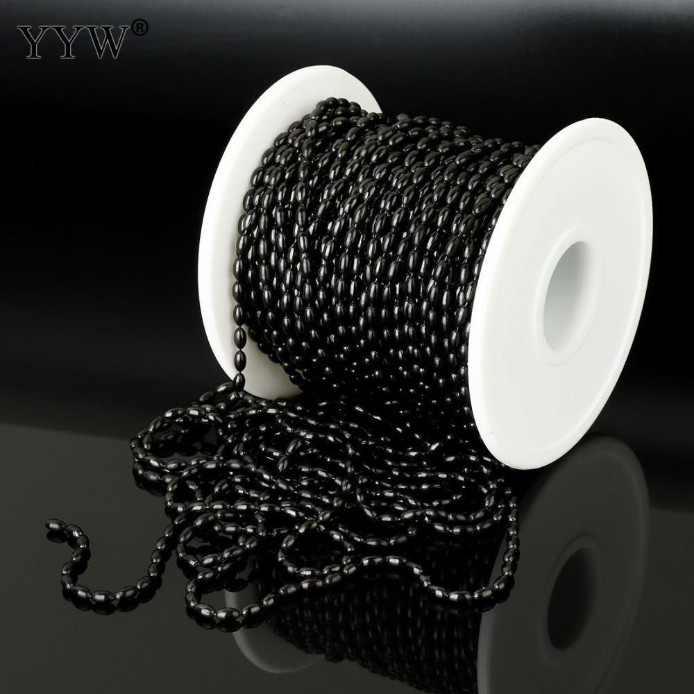 Chaîne de bijoux en acier inoxydable chaîne de perles ovales noir plaqué accessoires de bijoux de haute qualité environ 20 m/bobine en gros remise