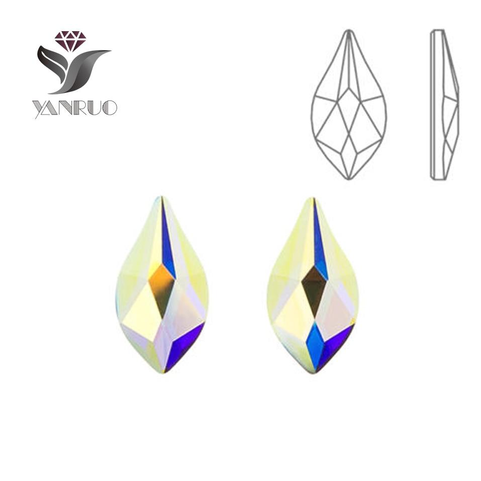 YANRUO 72pcs 5X8mm kristal AB 3D kristal nohtov art nosorogovo strass DIY plamen ravne podloge ne Hotfix kristali