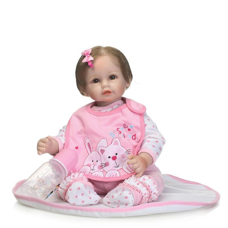 NPK 22Inch Reborn Dolls 55cm soft silicone reborn baby dolls for Newborn Baby Toys child gifts bebe alive reborn bonecas цена