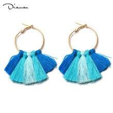 Boho Big Tassel Cotton Pendant Maxi Earrings Handmade DIY Brass Fringe Stud Earring For Women Fashion Jewelry Wholesale DE1184